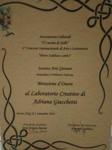 Concorso arte e letteratura Pietro Iadeluca - Menzione d'onore al Laboratorio Cretivo